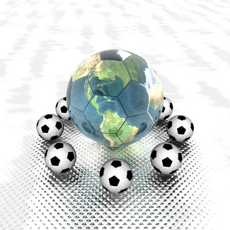 3d Soccer ball with earth Stock Photo - 3879098