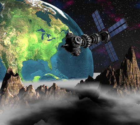 unreal unknown: 3d satellite Sputnik in orbita terrestre Archivio Fotografico