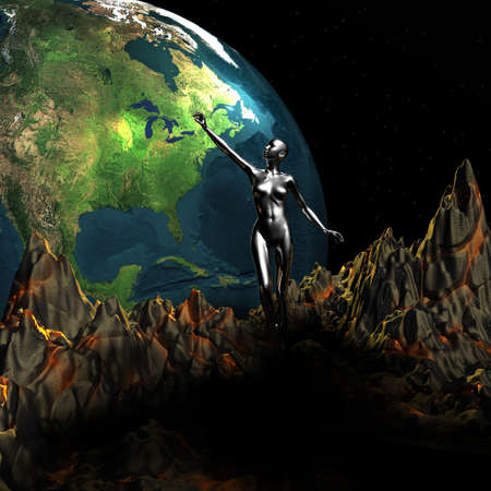 unreal unknown: girl points to 3d earth