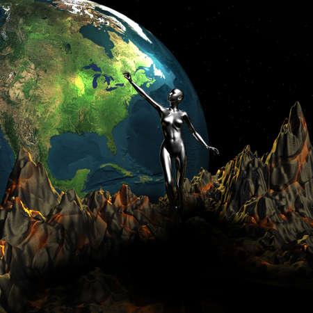 unreal unknown: punti ragazza a 3D della Terra Archivio Fotografico