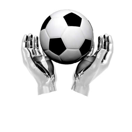 3d Soccer ball in hands isolated on a white background