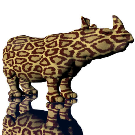 3d rino model with modifyed skin on a white background Stock Photo - 3879133