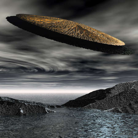 3d alien UFO space ship Stock Photo - 3879169