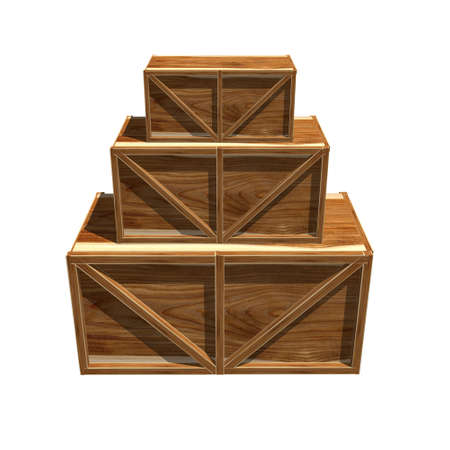 protecting: Wooden crates isolated on white Stock Photo