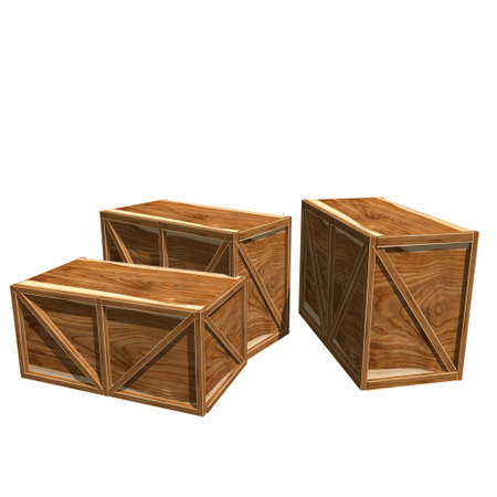 Wooden crates isolated on white photo
