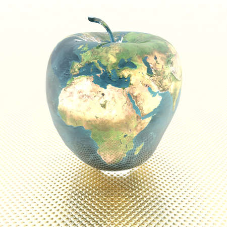 protecting: 3D bright apple with earth texture
