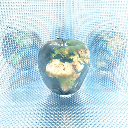 3D bright apple with earth texture Stock Photo - 3908007