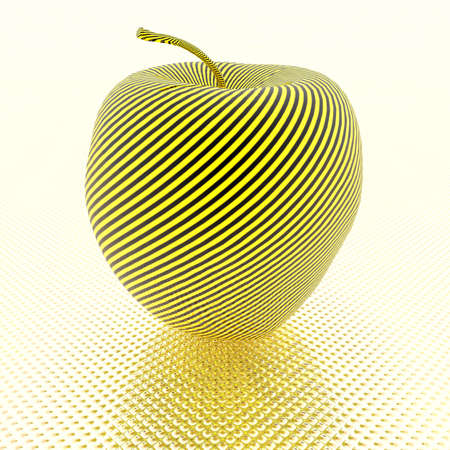 3D bright apple with yellow stripe texture Stock Photo - 3907996