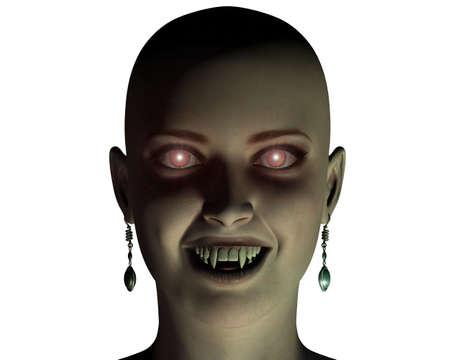 dientes sucios: joven y bella chica vampiro retrato aislado en un blanco