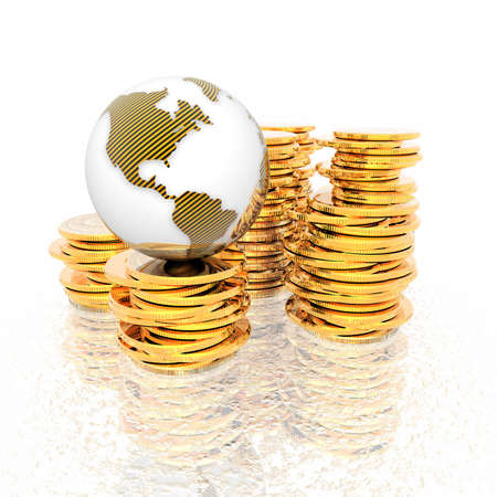 coins with 3D globe isolated on a white background photo
