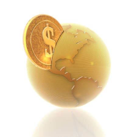 financial globe: coins with 3D globe isolated on a white background