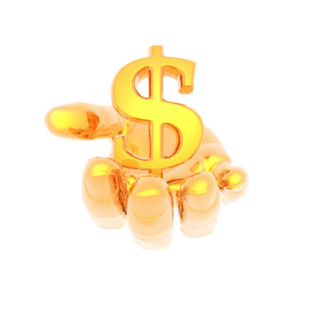 hand with a golden currency sign isolated on a white background photo
