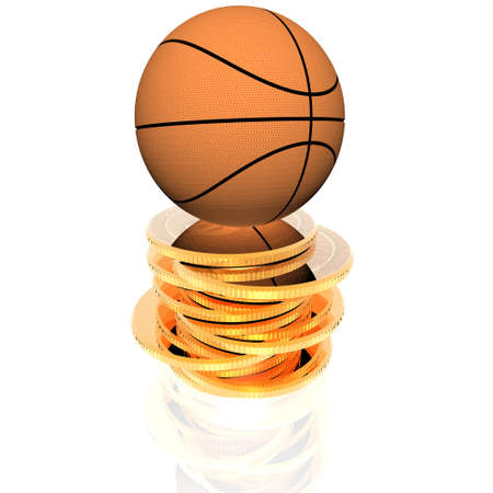 3d basket ball on golden coins isolated on a white background photo