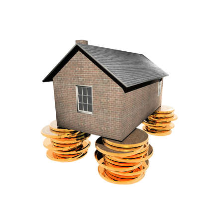 house on the golden coins isolated on a white background photo
