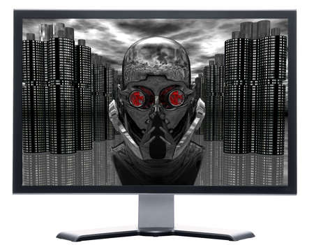 monitor with cyborg robot head isolated on white Stock Photo - 3933686