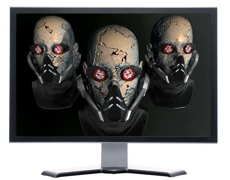 monitor with cyborg robot head isolated on white photo