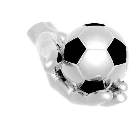 foot path: 3d Soccer ball in hands isolated on a white background