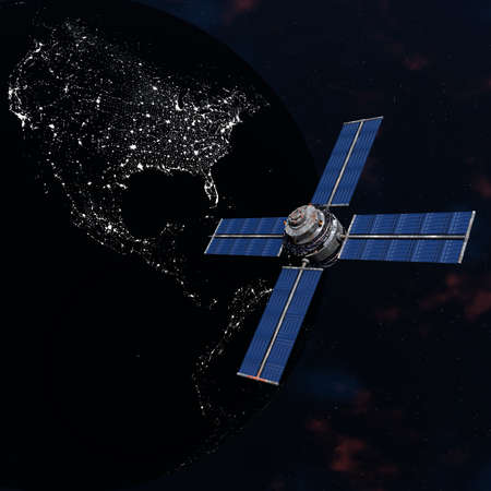 Satelite sputnik orbiting 3d earth in space Stock Photo