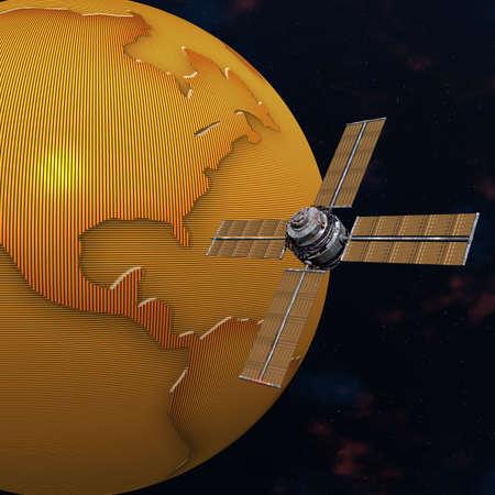 unreal unknown: Satelite sputnik orbiting 3d earth in space Stock Photo