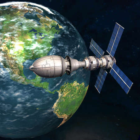 sputnik: Satelite sputnik orbiting 3d earth in space Stock Photo