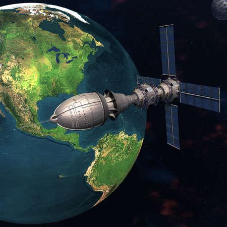 Satelite sputnik orbiting 3d earth in space photo