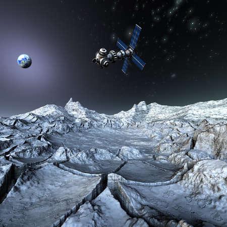 unrealistic: Satelite sputnik orbiting 3d earth in space Stock Photo