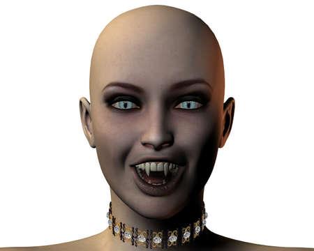 dientes sucios: joven y bella chica vampiro aislados retrato sobre fondo blanco