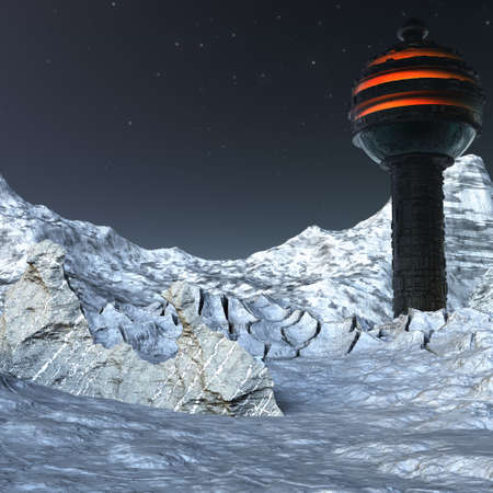 us base on the moon with snow futuristic landscape photo