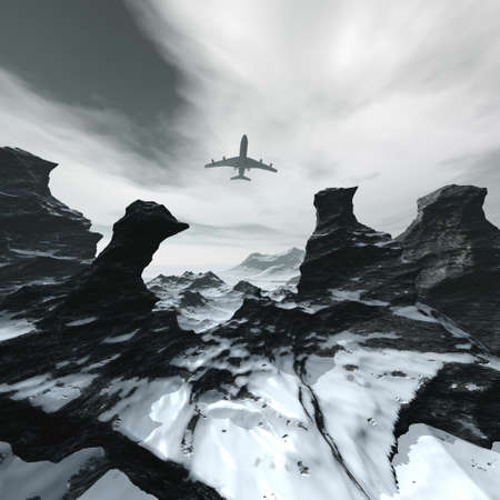 flying airliner in a winter landscape Stock Photo