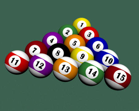 a set of fifteen pool billiard balls Stock Photo - 4135541