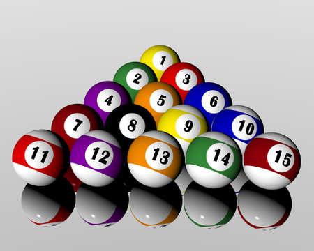 felt: a set of fifteen pool billiard balls