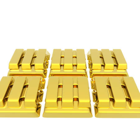 Stacked bars of gold bullion isolated on a white Stock Photo - 4135549