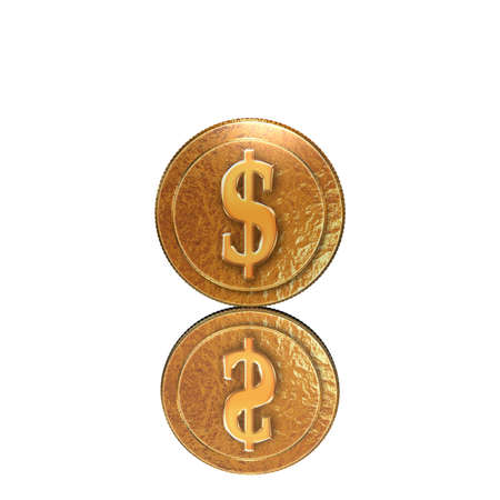 Golden coin with reflectoin on mirror background photo