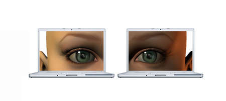girl eyes on a laptop screens isolated on a white background photo