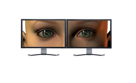 girl eyes on a screens isolated on a white background photo