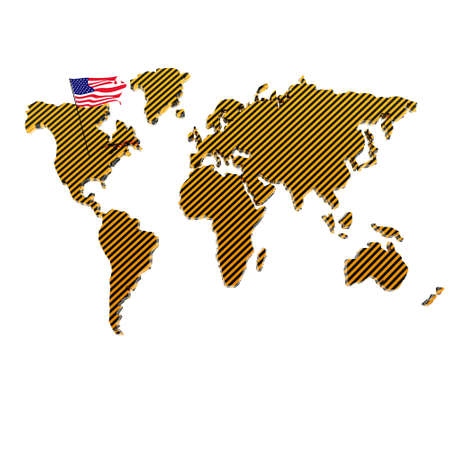 us flag on the world map isolated on a white background photo