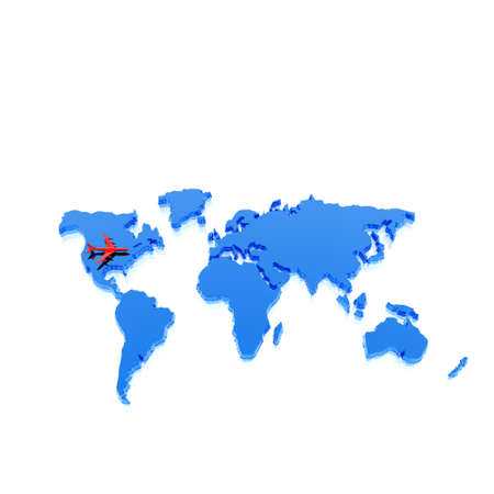 geographical: colorful geographical world map with airplane Stock Photo