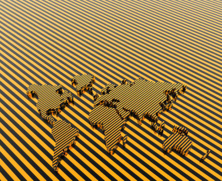 geographical: 3d stripe model of the geographical world map Stock Photo