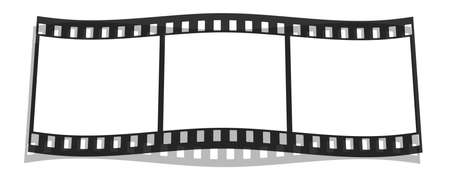 filmroll: film stripe with 3 blank images  isolated on a white Stock Photo