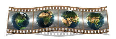 film with 4 images of the earth isolated on a white background Stock Photo - 4176636