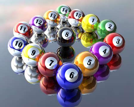 a set of fifteen pool billiard balls Stock Photo - 4176629