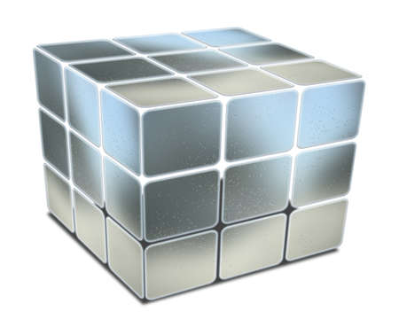 gaps: cube with gaps blue metal textured on white