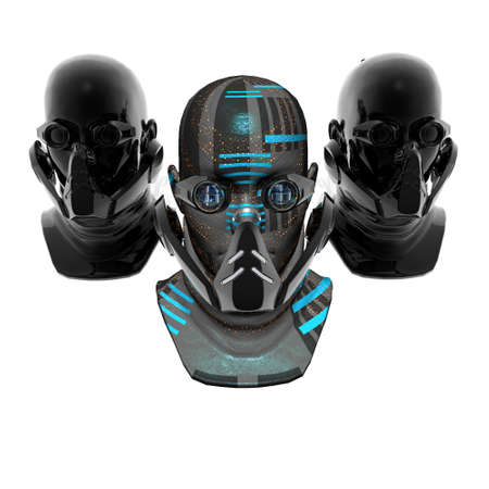 cyborg heads, robots, isolated on white photo