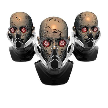cyborg heads, robots, isolated on white Stock Photo - 4176637