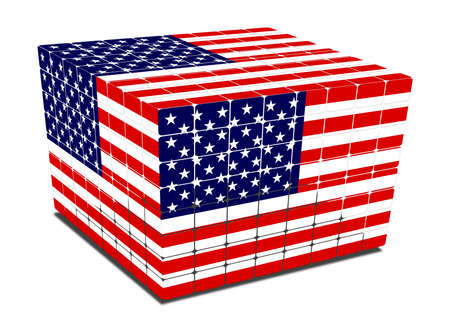 cube with gaps us flag textured on white photo