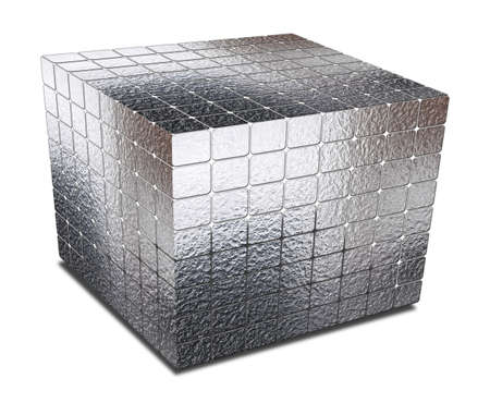 gaps: cube with gaps silver metal on white Stock Photo