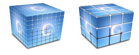 cubes with solar eclipse on a white photo