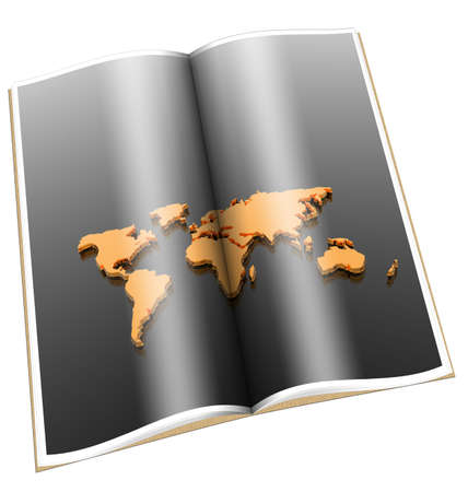 3d book with golden world map isolated on a white Stock Photo