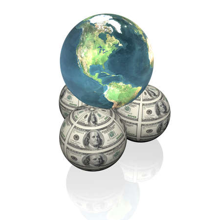 orbs and earth with 100 us dollar notes isolated on a white background Stock Photo - 4228460