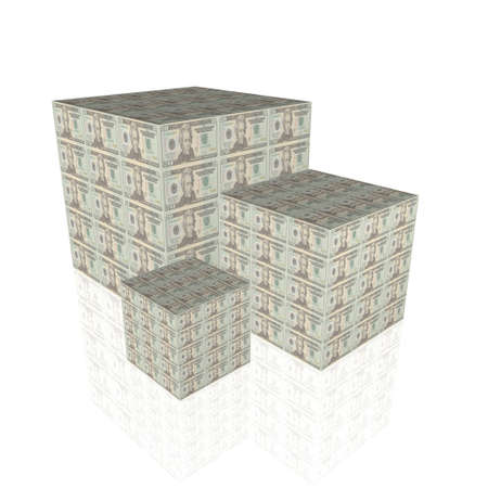 cubes with us dollar notes isolated on a white background Stock Photo - 4228481